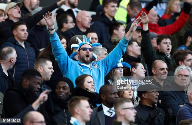 Coventry City fans during the Emirates FA Cup Fifth Round match between Brighton and Hove Albion and Coventry City at Amex Stadium on February 17...