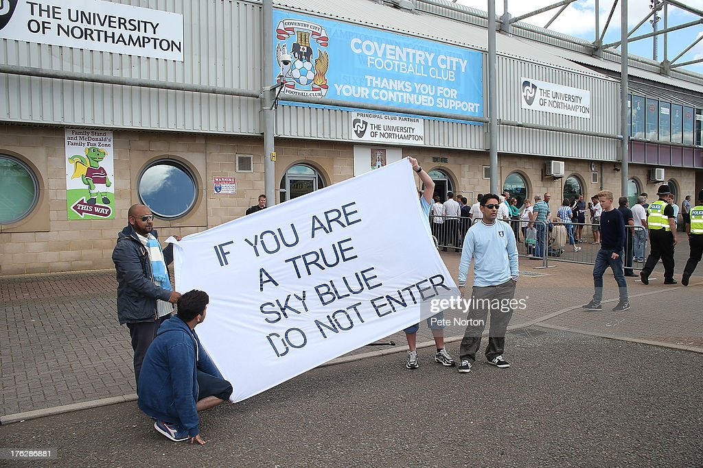 Coventry City fans protest prior to the Sky Bet League One match between Coventry City and Bristol City at Sixfields Stadium on August 11, 2013 in Northampton, England.