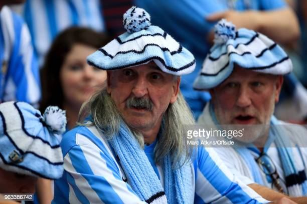 Coventry City fans wearing hats knitted in club colours during the Sky Bet League Two Play Off Final between Coventry City and Exeter City at Wembley...