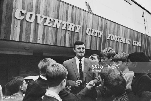 Coventry City FC manager Jimmy Hill signing autographs for young fans Coventry UK 18th August 1967