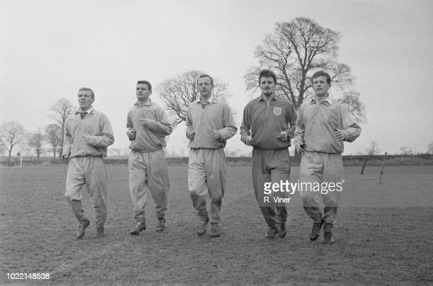 Coventry City FC players John Sillett Ken Hale George Hudson Graham Newton and manager Jimmy Hill training outdoors UK 7th March 1964