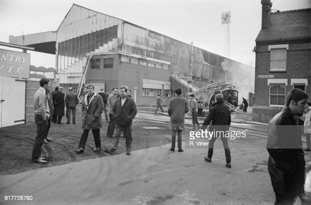Coventry City FC's stadium Highfield Road Main Stand gutted by fire 6th March 1968