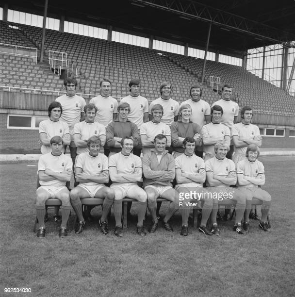 Coventry City Football Club team squad posed together on the pitch at Highfield Road stadium in Coventry at the start of the 197071 football season...