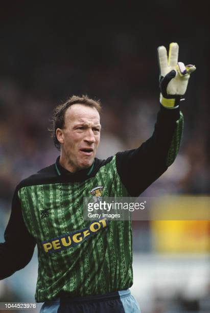 Coventry City goalkeeper Steve Ogrizovic reacts during a First Division match against Chelsea at Highfield Road on November 2 1991 in Coventry England