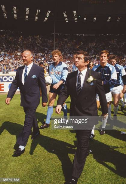 Coventry City joint manager John Sillett and captain Brian Kilcline lead out Coventry City as Spurs manager David Pleat and captain Richard Gough...