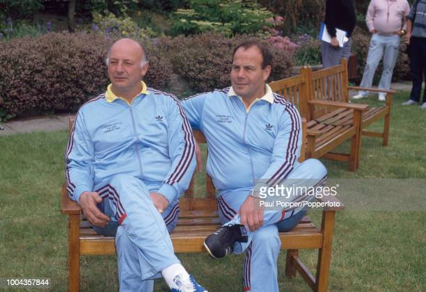 Coventry City manager John Sillett and managing director George Curtis during the media day before the FA Cup Final at a hotel on May 13 1987 in...