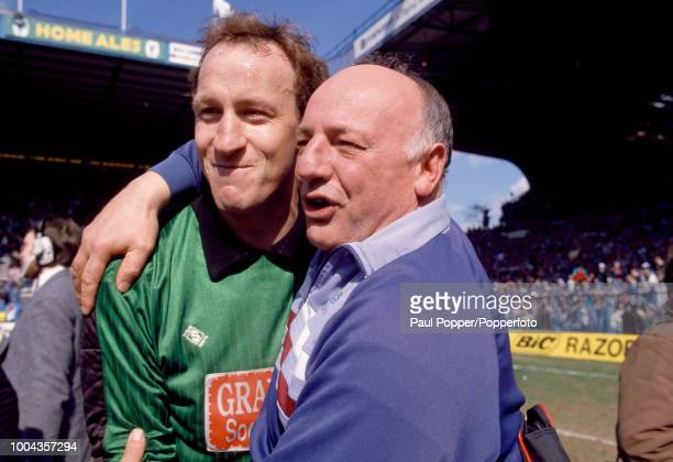 Coventry City manager John Sillett celebrates with goalkeeper Steve Ogrizovic after the FA Cup Semi Final between Coventry City and Leeds United at...