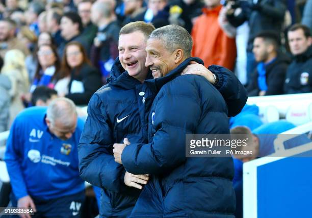 Coventry City manager Mark Robins and Brighton Hove Albion manager Chris Hughton ahead of the Emirates FA Cup Fifth Round match at The AMEX Stadium...