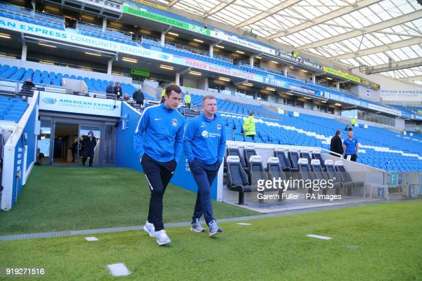 Coventry City manager Mark Robins inspects the pitch ahead of the Emirates FA Cup Fifth Round match at The AMEX Stadium Brighton