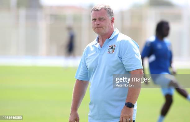 Coventry City Manager Mark Robins looks on prior to a Pre-Season Friendly match between Northampton Town and Coventry City at Pinatar Arena on July...