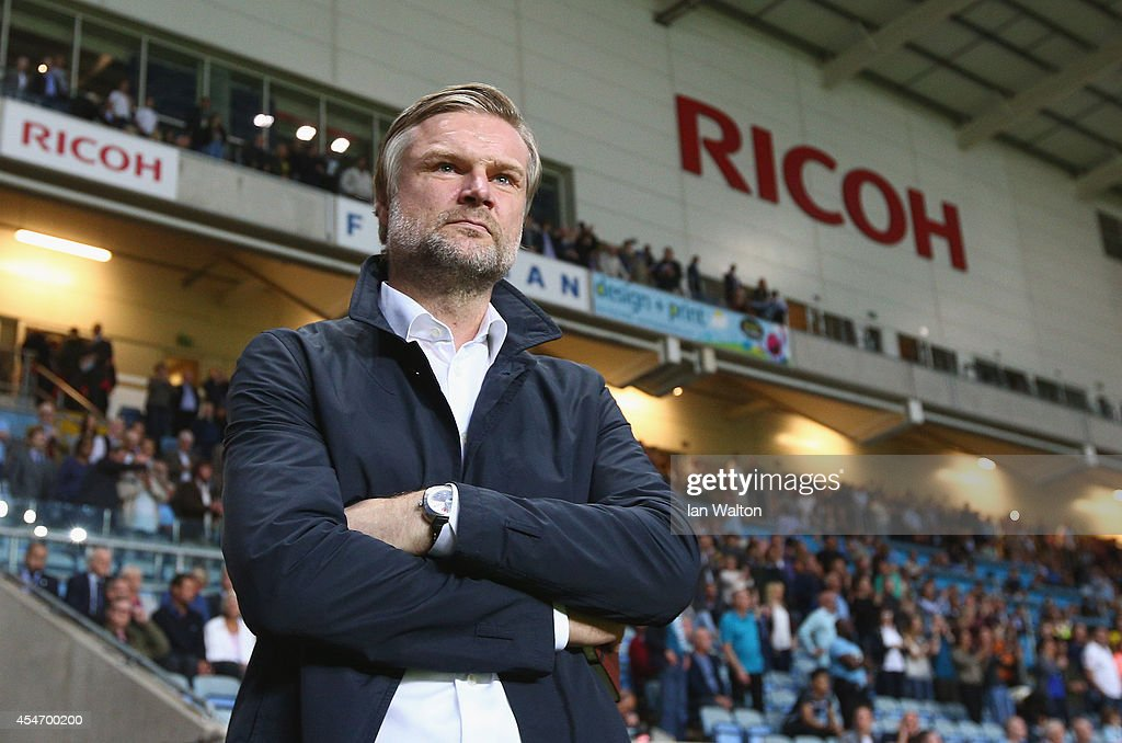 Coventry City manager Steven Pressley looks on during the Sky Bet League One match between Coventry City and Gillingham at Ricoh Arena on September 5, 2014 in Coventry, England.