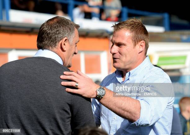 Coventry City manager Tony Mowbray greets Bury FC manager David Flitcroft before kick off