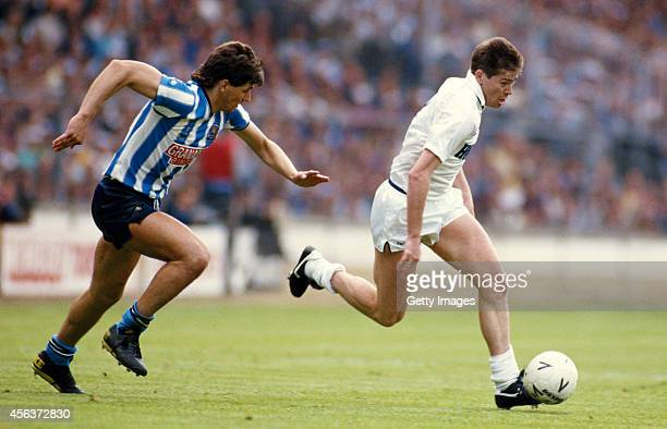 Coventry City player Nick Pickering is left behind by Spurs player Chris Waddle during the 1987 FA cup final between Coventry City and Tottenham...