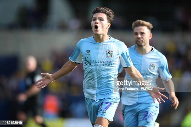 Coventry City 's Callum O'Hare celebrates scoring his side's third goal during the Sky Bet League One match at the Kassam Stadium Oxford. Oxford...