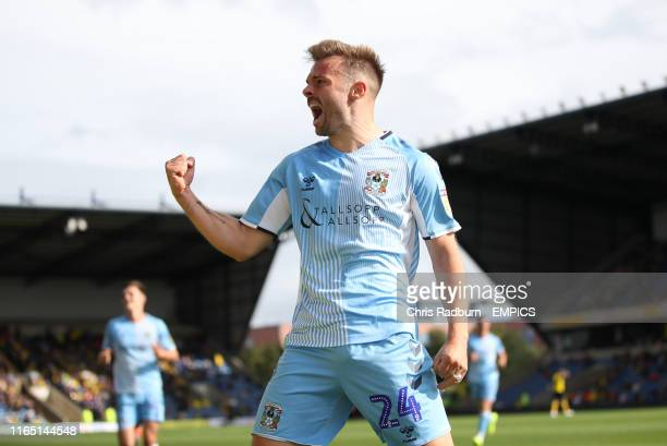 Coventry City 's Matty Godden celebrates scoring his side's second goal during the Sky Bet League One match at the Kassam Stadium Oxford. Oxford...