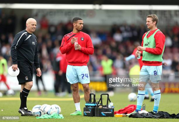 Coventry City Sports Scientist Pete Tierney and players Jordan Clarke and Carl Baker