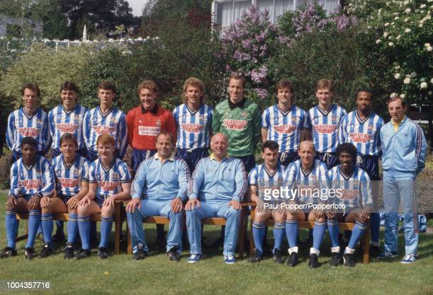 Coventry City squad line up for a group photo before the FA Cup Final at a hotel on May 13 1987 in Bournemouth England Back row Trevor Peake Nick...
