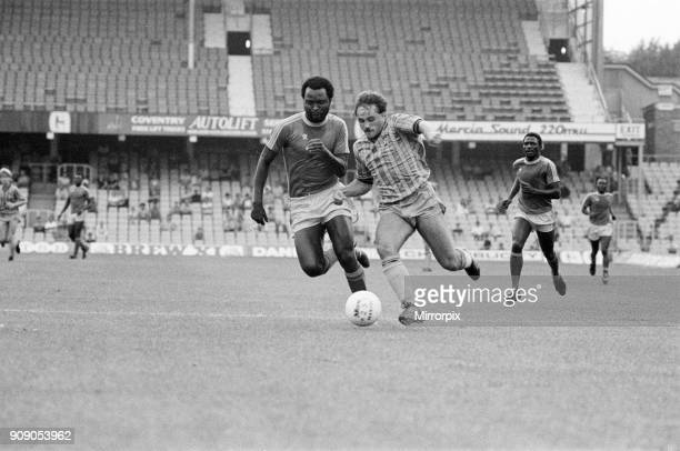 Coventry City v Zimbabwe Pre Season Friendly at Highfield Road Friday 19th August 1983 A burst of aggression from Terry Gibson as he races through...