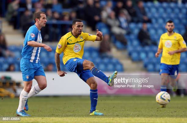 Coventry City's Callum Wilson in action with Colchester United's David Wright