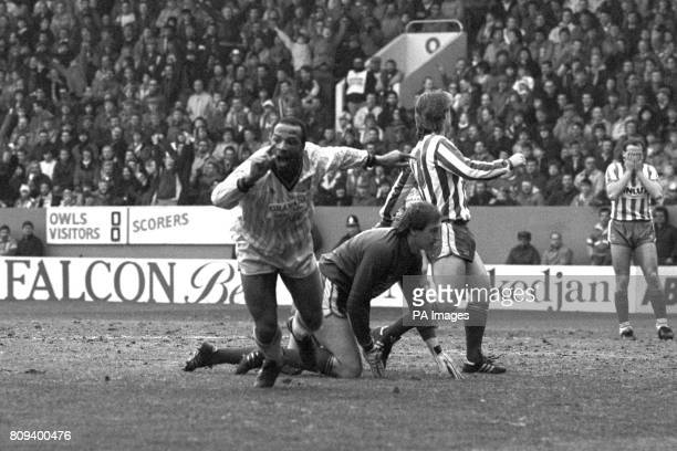 Coventry City's Cyrille Regis turns to celebrate after scoring one of the goals that would put them into the FA Cup Semi Final for the first time in...