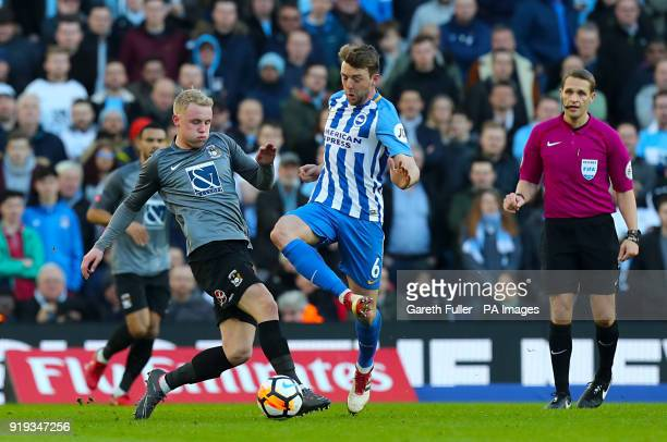 Coventry City's Jack Grimmer and Brighton Hove Albion's Dale Stephens battle for the ball during the Emirates FA Cup Fifth Round match at The AMEX...