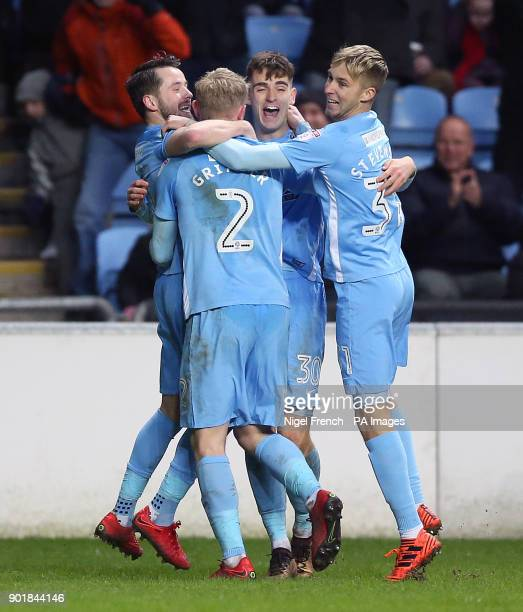 Coventry City's Jack Grimmer celebrates scoring his side's second goal of the game with teammates during the FA Cup third round match at the Ricoh...