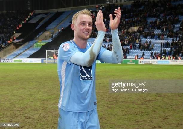 Coventry City's Jack Grimmer celebrates victory after the FA Cup third round match at the Ricoh Arena Coventry