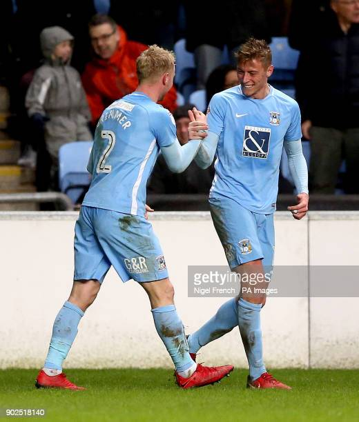 Coventry City's Jack Grimmer celebrates with team mate Coventry City's Tom Davies after scoring his team's second goal