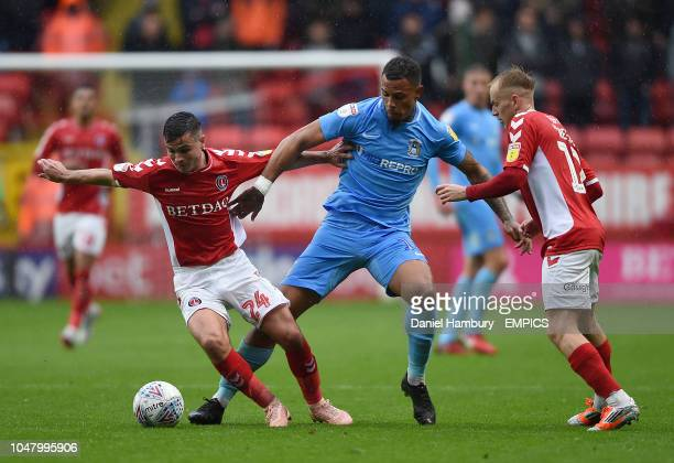 Coventry City's Jonson Clarke-Harris battles with Charlton Athletic's Josh Cullen and Ben Reeves Charlton Athletic v Coventry City - Sky Bet League...