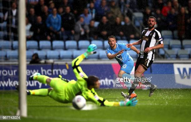 Coventry City's Marc McNulty watches his shot go wide as Notts County Goalkeeper Adam Collin attempts a save during the Sky Bet League Two Playoff...