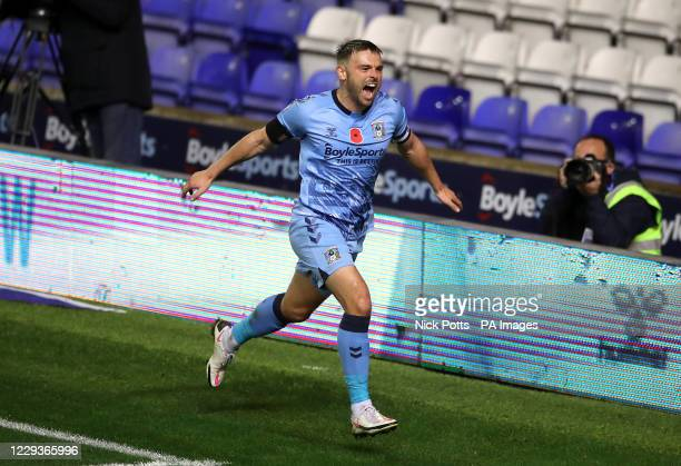 Coventry City's Matt Godden celebrates scoring his side's second goal of the game during the Sky Bet Championship match at St Andrews, Birmingham.