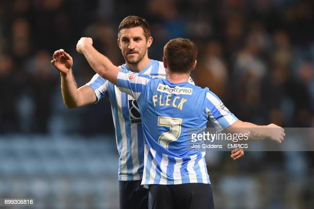 Coventry City's Sam Ricketts and John Fleck celebrate victory