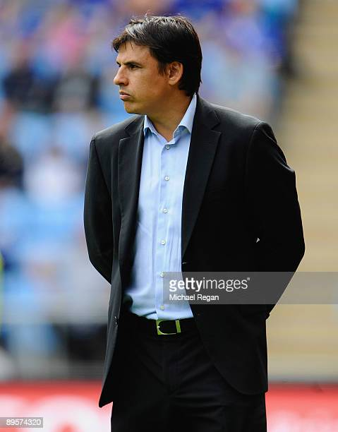 Coventry manager Chris Coleman looks on during the pre season friendly match between Coventry City and Everton at the Ricoh Arena on August 2 2009 in...