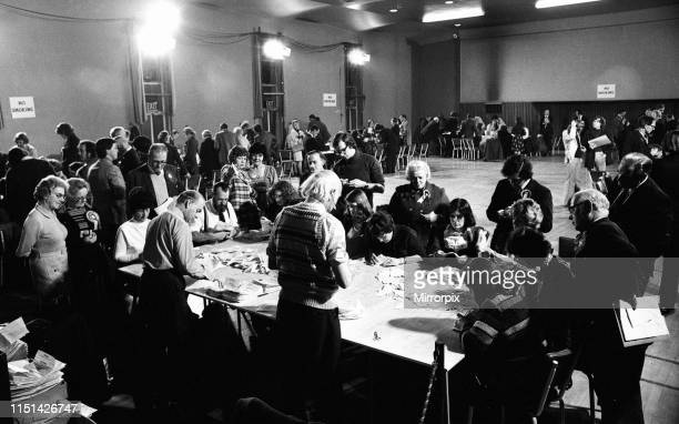 Coventry North West By-election, due to the death of the incumbent Maurice Edelman, Coventry, Thursday 4th March 1976; pictured Counting of Votes.