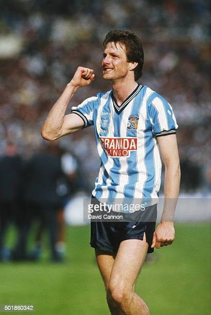 Coventry striker Keith Houchen celebrates after the 1987 FA Cup Final between Coventry City and Tottenham Hotspur at Wembley Stadium on May 16 1987...