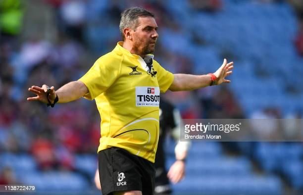 Coventry United Kingdom 20 April 2019 Referee Jérome Garcès during the Heineken Champions Cup SemiFinal match between Saracens and Munster at the...