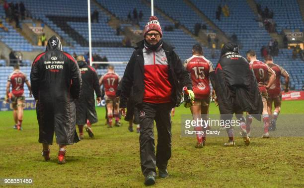 Coventry United Kingdom 21 January 2018 Ulster Director of Rugby Les Kiss following the European Rugby Champions Cup Pool 1 Round 6 match between...