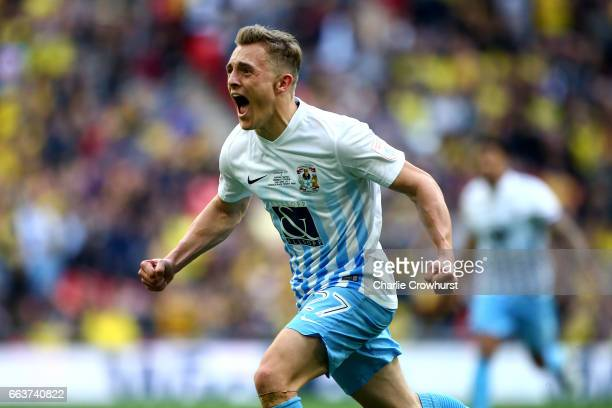 Coventry's George Thomas celebrates after scoring the teams second goal of the game during the EFL Checkatrade Trophy Final between Coventry City and...