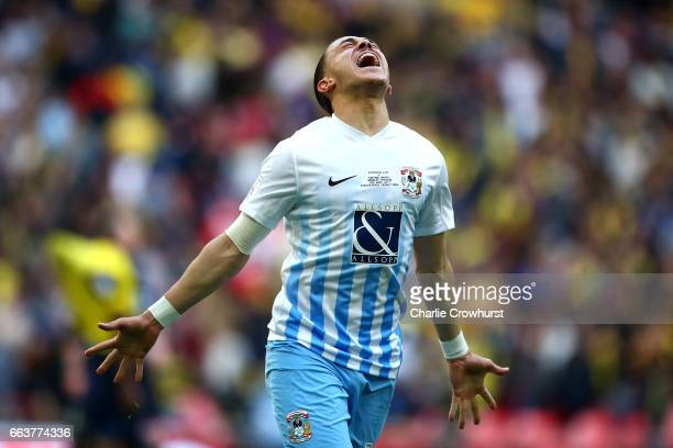 Coventry's Jodi Jones celebrates the teams win at the final whistle during the EFL Checkatrade Trophy Final between Coventry City and Oxford United...