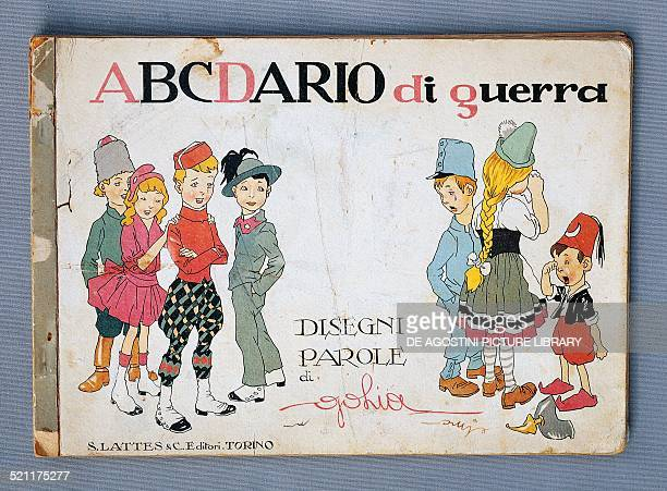 Cover ABCdario of War illustration depicting Russian French English and Italian children laughing at weeping Austrian German and Turkish children...