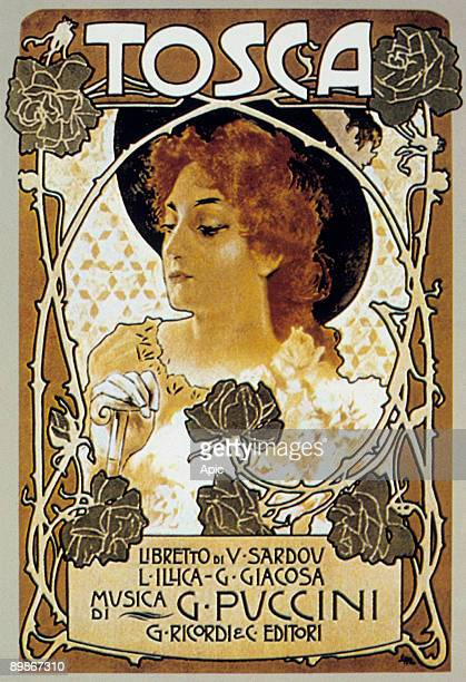 Cover by Leopoldo Metlicovitz of score of opera Tosca by GiacomoPuccini, 1899
