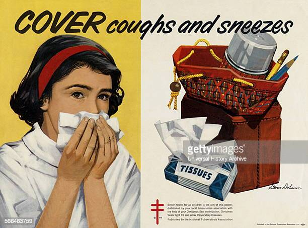 Cover coughs and sneezes National Tuberculosis Association, United States, ca. 1962.