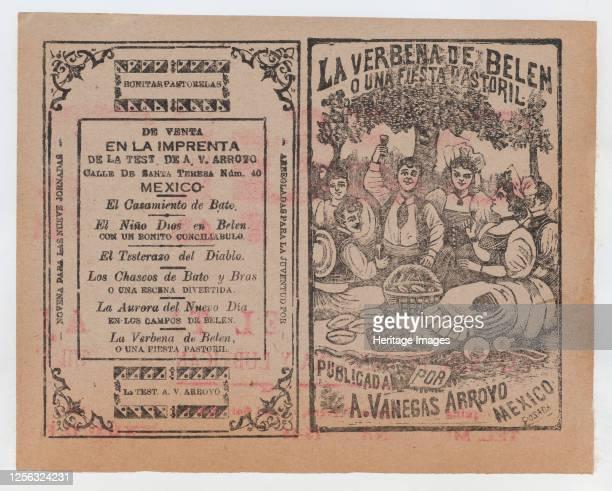 "Cover for 'La Verbena de Belen o Una Fiesta Pastoril"", people having a picnic in a field, circa 1901. Artist José Guadalupe Posada."