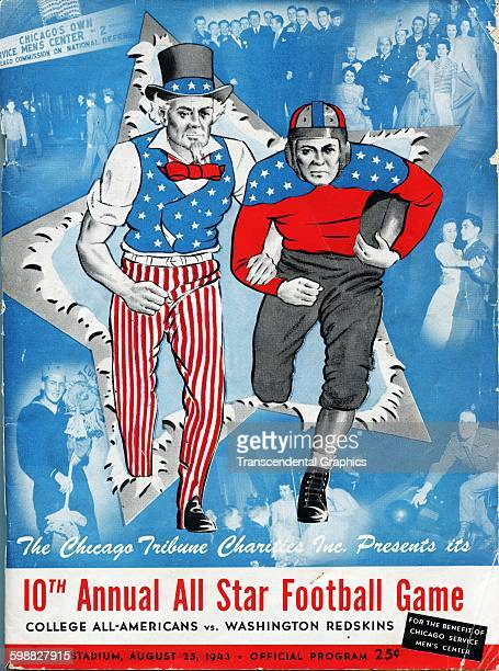 Cover for the program for the tenth annual All Star Football Game at Dyche Stadium, Evanston, Illinois, August 25, 1943. The game featured a team of...