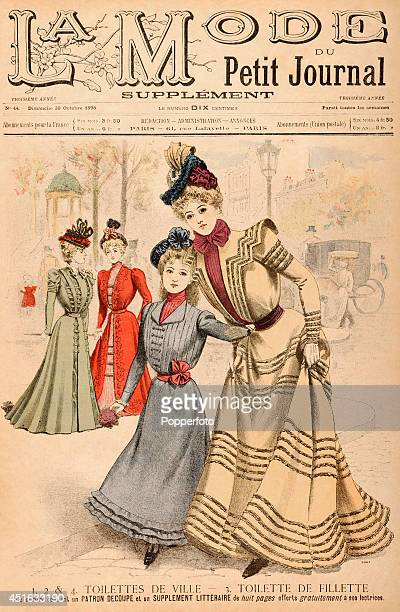 A cover illustration from a Supplement to 'La Mode du Petit Journal' a French fashion publication featuring three stylish ladies and a girl wearing...