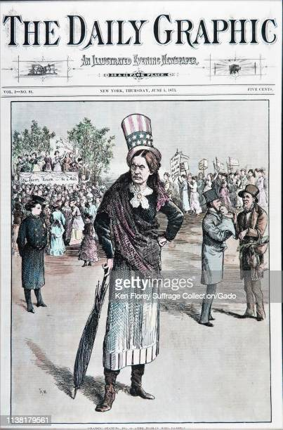 Cover illustration from The Daily Graphic, depicting suffragist Susan B Anthony as Uncle Sam, with female lobbyists, a female policeman, and men...
