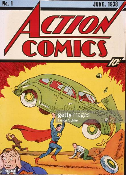 Cover illustration of the comic book Action Comics No. 1 featuring the first appearance of the character Superman June 1938.