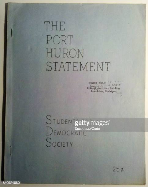 Cover image from a first edition of the Port Huron Statement, a political manifesto from the protest group Students for a Democratic Society calling...