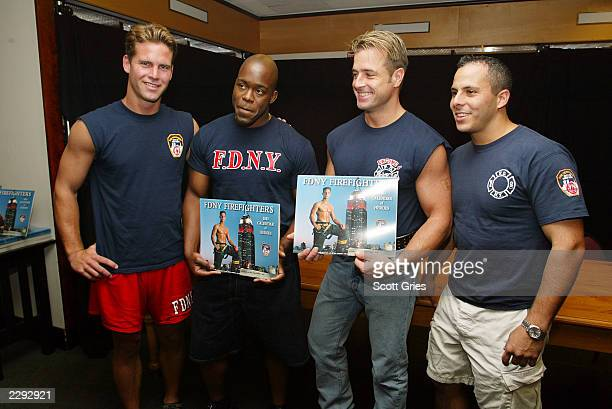 "Cover model Danny Keane, Mr. November Correy Hannah, Mr. February Ed McNulty, and Mr. April Mike Burke before signing copies of the ""FDNY..."