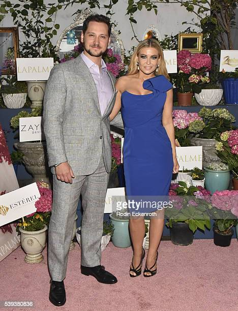 Cover models and actors Matt McGorry and Carmen Electra attend the LaPalme Magazine's Summer Issue Party at Sofitel Hotel on June 10 2016 in Los...